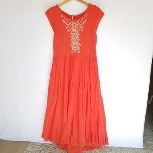 Free People Orange Embroidered Maxi Dress, Large